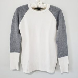 French Connection BabySoft White Grey Crew Sweater